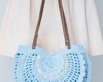 BAG // Blue Shoulder Bag Boho BagTriangle Bag Tribal Bag Summer Bag Hand Bag Handmade Bag Hobo Bag