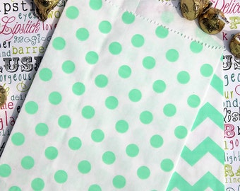 Mint Polka Dot Favor Bags, Candy Bags, Popcorn Bags, Wedding Favor Bags (100 count)