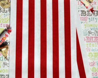 150 Red and White Stripe Candy Bags, Red and White Stripe Favor Bags, Party Bags, Popcorn Bags, Carnival Bags, Treat Bags