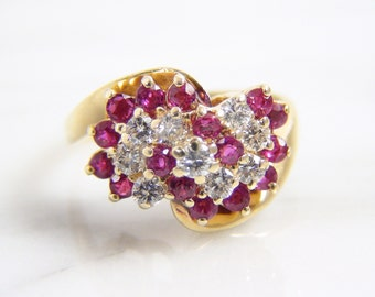 Vintage Genuine Ruby and Diamond 14K Yellow Gold Cluster Cocktail Ring