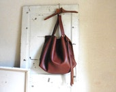 Leather Tote Extra Large. Slouchy Big Bag. Handbound Brown Calfskin Leather. Made to Order.  XXL, XL and L sizes available.