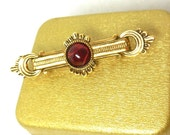 Vintage Bar Pin 1928 Jewelry Co. Gold Marbled Red Cab Victorian Revival Art Deco Costume Fashion 80s Holiday