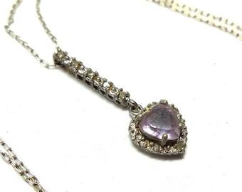 Vintage Amethyst Heart Pendant Necklace Sterling Silver Crystal Rhinestones Vintage 1980s