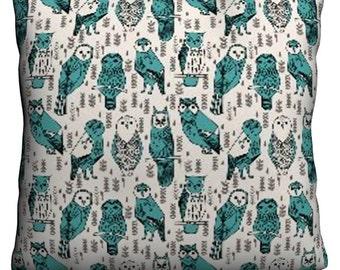 Aqua Owls Pillow