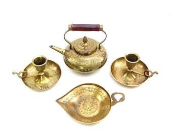 Vintage Brass Tea Set Etched Brass Teapot India Ceremonial Tea Set Candle holders Hand Engraved Signed Set of 4