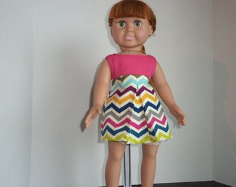 Jumper Chevron Corduroy and Pink Cotton for 18 inch dolls, doll clothes, Ready to Ship