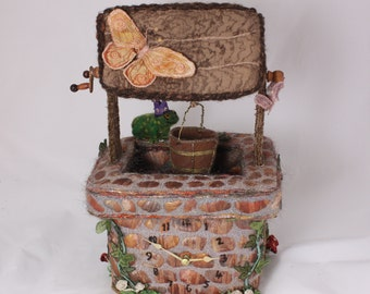 Time to make a wish wishing well clock frog prince toadstools fairy tale butterfly dragonfly embroidered 3d clock vessel