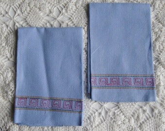 Vintage Towels - Hand Towel Pair, Guest Towels, Swedish Needle Weaving, Blue Huck Fabric, Pink Yellow Blue Embroidery