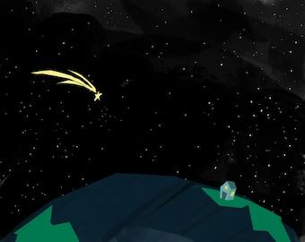 Shooting Star Art Print | Shooting Star Painting | Children's Space Art | Jennifer Shear | 5x7 | 8x10 | 11x14