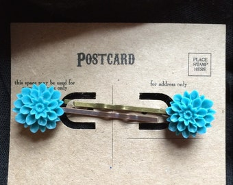 Mums the Word Hairpins in Turquoise