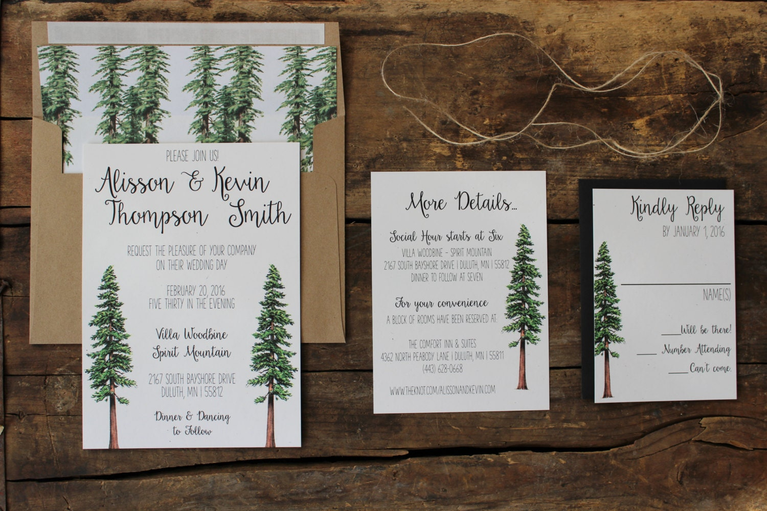 Rustic Tree Wedding Invitation Woodland Invitation Set