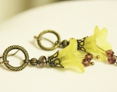 Yellow and Bronze Dangly Flower Earrings