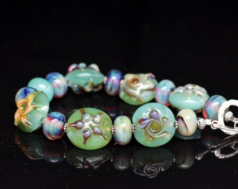 Beaultiful Sea Green Beaded Accent with Silver Glass Lampworking Bracelet Sterling Silver Toggle Clasp