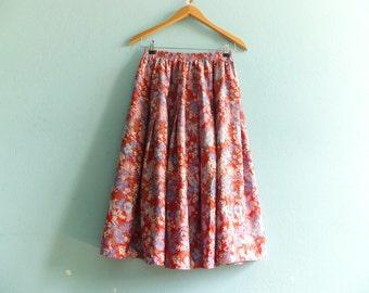 Vintage Floral Skirt Summer / Red Pink Blue / High Waist / Cotton / Midi  / medium