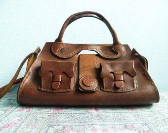 Vintage dark brown leather purse bag handbag shoulder bag / thick leather / 1970s 70s