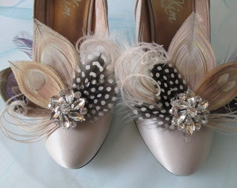 Peacock Wedding Shoe Clips, Gatsby Bridal 20s Shoe Clips, Bride's Rustic Feather Shoe Clips, Ivory / Champagne, Millinery Shoe Accessories