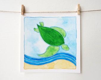 Sea Turtle Art - Beach Nursery Art - Sea Turtle Nursery Art - Sea Turtle Decor - Sea Turtle Artwork - Sea Turtle Art Print - Beach Art Print