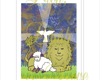 Lion, Lamb and Dove Note Card with Envelope - Physical Item