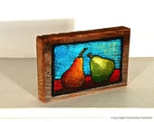 Original Pear Painting on Reclaimed Wood Block OOAK Mississippi Folk Art