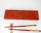 Vintage chopstick set chopstick in display box gift box chopstick cherry blossom design hand painted  chopstick Chinatown San Francisco