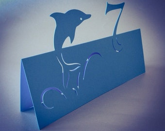 Table Numbers for Sea Ocean Themed Wedding, Dolphins, Event Table Decoration, Undersea World Style, Cutout, Scrapbook, Papercut by Naboko