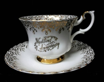 Royal Albert Fine Bone Gold Decor Wedding Anniversary Cup and Saucer