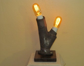 Found Metal Artifact Lamp 271 With Vintage Style Light Bulb