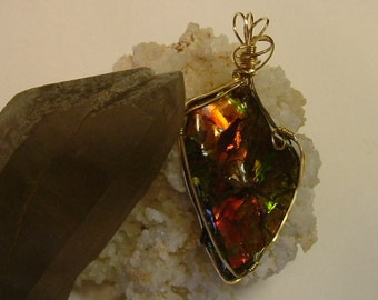 Very Large Brilliantly Bright Red, Orange, Yellow and Green Fire Ammolite from Utah Deposit Gold Filled Wire Wrap Pendant 365