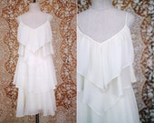 RESERVED vintage 1970's white chiffon tiered dress / size s - m