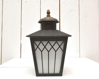 Mini Lamp Post Porch Light 40s 50s Vintage Mid Century Black Metal White Glass Outdoor Light Sconce