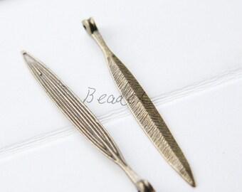 6 Pieces / Antique Brass / Arrow /Leaf / Base Metal / Pendant / Charm (Y10522//B443)