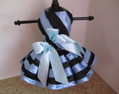 Dog Dress  Xs Black with Blue   By Nina's Couture Closet