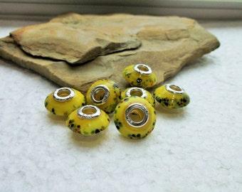 16 Yellow Saucer European Murano Lampwork Beads
