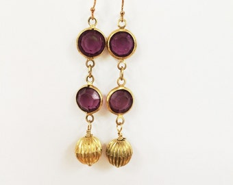 Vintage Amethyst Glass and Vintage Gold Beads