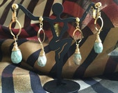 MUSEUM - ruby in fuchsite drop earrings, gold-plated wire wrapping