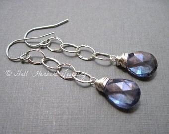 Blue Quartz Long Dangle Earrings in Sterling Silver, Blue Gemstone Earrings with Hammered Silver Links