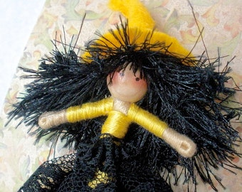Lucky Witch Doll Pin, Witch Brooch,  Halfpenny Bendy Doll Yellow and Black