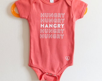 Hungry Hungry Hangry white vinyl on Red onesie bodysuit Infant baby newborn