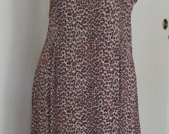 LEOPARD Print Rayon Slip DRESS -  Lace Trimmed - SiZE - Large