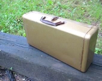 Cool gold metal, industrial storage box, carrying case, bakelite handle