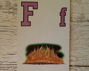 Alphabet Flash Card - Letter  F is for Fire 1950s Illustrated School Flash Card