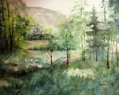 Watercolor Landscape Painting Archival Print, scenic nature painting, lake painting summer country landscape, woodland lake landscape