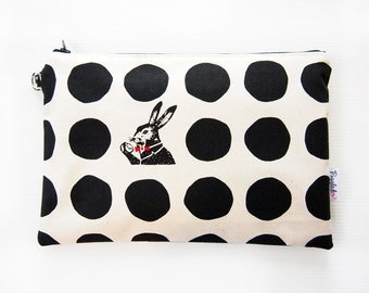 Medium Zippered Wet Bag Pouch / Nappy Wallet / Diaper Case / with Waterproof Lining  - Rabbit and Dots