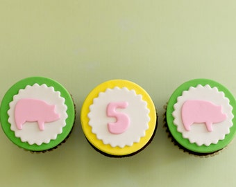 Fondant Pig and Age Toppers for Birthday Cupcakes, Cookies or Cakes