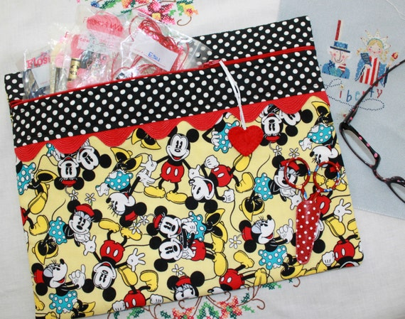 Mickey Minnie Togetherness Cross Stitch, Sewing, Embroidery Project Bag