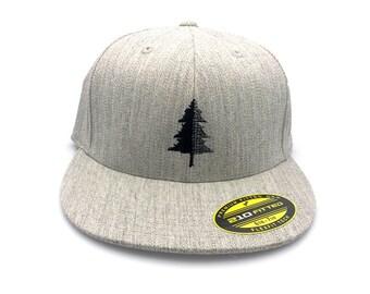 Men's Hat - Split Tree Illustration - Men's/Unisex Embroidered Baseball Cap - Fitted or Snapback