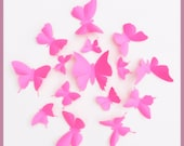 3D Wall Butterflies - 15 Pink 3D Wall Butterfly Silhouette Wall Art - Nursery - Home Decor
