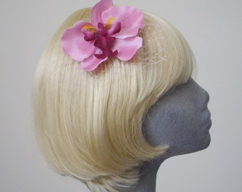 Pink Flower Hair Comb - Mid Pink Shaded Orchid Hair Comb