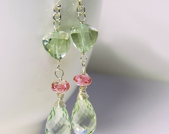 Green Amethyst Dangle by Agusha. Parasiolite and Pink Quartz Drop Earrings. Gemstone Dangle