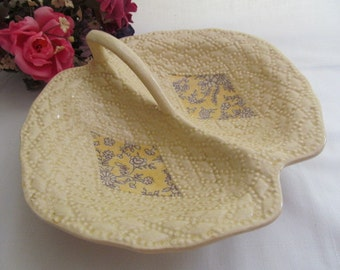 Vintage Ceramic Handled Divided Lemon Dish Made in Japan